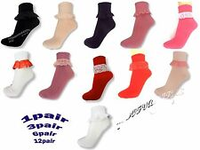 NEW LADIES GIRLS FRILL FRILLY LACE SOCKS RED BLACK WHITE ANKLE TRAINER SOCKS LOT