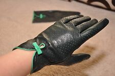 Women genuine Italian perforated Lambskin nappa Leather unlined wrist Gloves