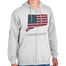 Connecticut State Pride American Flag USA Patriotic Gift Ideas Zipper Hoodie