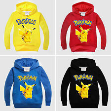 Kids Boys Girls Pokemon Go Hoodie Pikachu Sweater Sweatshirt Hooded Jumper Tops