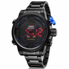 Fashion OHSEN Mens Black Stainless Steel Army Military Date LED Waterproof Watch
