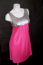 Silver Sequin Pink Mini Dress Size S M L Cocktail New Women Empire Sleeveless