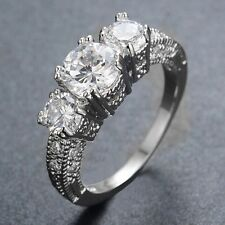 Size 6-9 Jewelry 10KT White Gold Filled Wedding Band Ring White Sapphire Ring