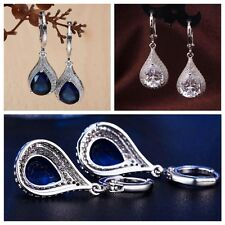Hot Zircon Tear Drop Sapphire Silver Plated Dangle Hoop Earrings Ear Stud Gift