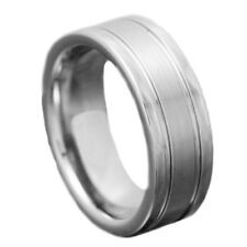 8mm Tungsten Carbide Pip Cut Brushed Center Duo Groove Ring Mens Wedding Band