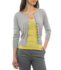 WoolOvers Womens Ladies Long Sleeve Silk And Cotton Cropped Crew Neck Cardigan