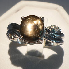 3.66CT NATURAL 6 RAYS BLACK STAR SAPPHIRE 925 SILVER RING