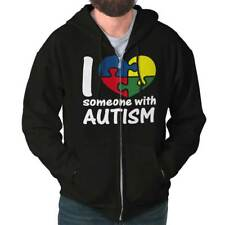 I Love Someone With Autism Shirt Cute Autism Awareness Unisex Zipper Hoodie