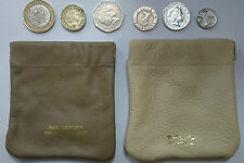 Ladies Mens Real Soft  Leather Small Snap Top  Coin Pouch  Purse Wallet