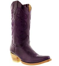 women's caroline purple western leather cowboy boots rodeo cowgirl ladies riding