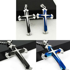 Unisex's Men Necklace Blue Silver Stainless Steel Cross Pendant Necklace Chain