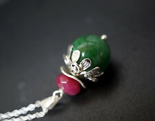 Flower Emerald Jade Necklace - Natural Green Jade Pendant Silver Genuine Ruby
