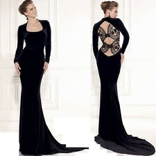 Long Sleeved VELVET BACKLESS MAXI DRESS Sz 8-18 Plus Cocktail Party Evening Gown