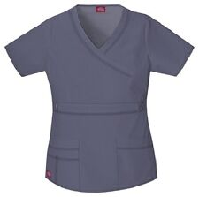 Dickies Scrubs 817355 V Neck Scrub Top Dickies GenFlex Jr Fit Pewter