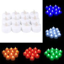 12Pcs Color LED White Flicker Flashing Flameless Lamp Tealight Electronic Candle