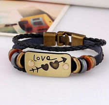 Black or Brown Leather LOVE Bracelet Bangle FREE SHIPPING Friendship Bracelet