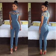 Womens Jumpsuit short sleeve Hollow Out Bodycon long jumpsuits for women