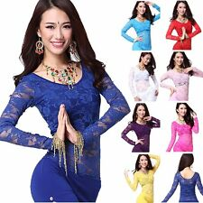 Belly Dance Lace Tops Dancing Floral Bra Gypsy Long Sleeve Blouse Shirt Costume