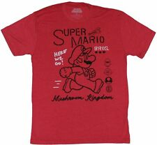 Super Mario Brothers Mens T-Shirt - Outlined Mario Over Mushroom Kingdom