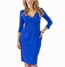 Ladies Office Work Dress Elegant  V Neck Long Sleeve Pleated Slim Dress