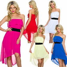 Sexy Ladies Bandeau Dress Evening Ruffle Chiffon Cocktail Party Club S 34 36