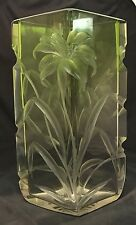 """MOSER GREEN TO CLEAR FLORAL INTALGIO CUT GLASS VASE 9 3/4"""""""