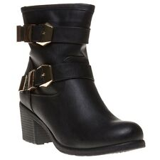 New Womens Lotus Black Keely Synthetic Boots Ankle Buckle Zip
