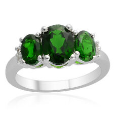 Russian CHROME DIOPSIDE , White TOPAZ RING in Plat / Sterling Silver 2.41 Cts.