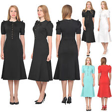 MARYCRAFTS WOMENS ELEGANT EVENING WORK DRESS RETRO FISHTAIL MIDI TEA DRESSES