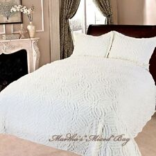 CHENILLE WEDDING RING Vintage IVORY BEDSPREAD+SHAMS 100% COTTON King/Queen/Full