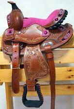 """10"""" 12"""" Pink Suede Brushed Look Beaded Navajo Show Western PONY Saddle Just In"""