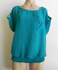 Too Mi Size 18 Emerald Green Cap Sleeve Crush Look Blouse Top Shirt BNWT