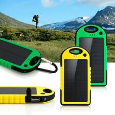 Solar Power Bank Portable Battery 5000mAh Dual-USB Waterproof Phone Charger