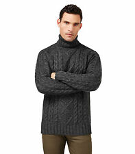 WoolOvers Mens Pure Wool Aran Polo Neck Casual Jumper Sweater Knitwear