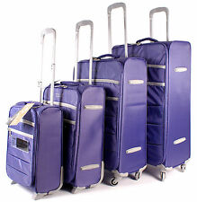 Set of 4 Purple Lightweight Suitcases Wheeled 4 Wheel Spinner Luggage