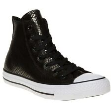 New Womens Converse Black Metallic All Star Hi Leather Trainers Animal Lace Up