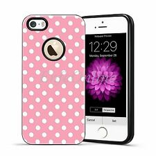 Pink Skin Hybird TPU White Polka-dot Shockproof Case Cover For Apple iPhone 5 5S