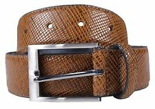 New Mens Snake Skin Textured Genuine Bonded Leather 35mm Wide Buckle Belts S-3XL