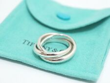 Auth Tiffany & Co. Sterling Silver Triple Interlocking Bands Ring Size 5.5