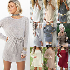 Womens Long Sleeve Jumper Tops Pullover Knitted Sweater Tunic Mini Dress UK 6-14