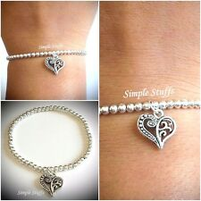 Stunning Silver Plated Bead Bracelet with Tibetan silver heart charm