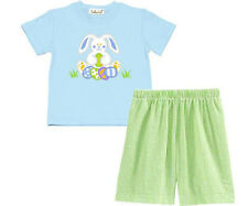 Boys Easter Clothes Easter Bunny & Eggs Appliqued Boys Short Set NWT Babeeni