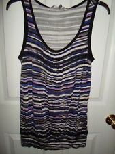 DAISY FUENTES BLACK PURPLE TAUPE SHIRRED KNIT STRIPED TANK TOP BLOUSE S M NEW