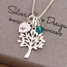 Sterling Silver Personalised Tree Of Life Necklace &Birthstone Initial Heart Tag