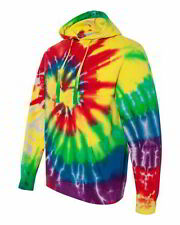 Tie-Dyed Mens Hoody Multi-Color Spiral Pullover Hooded Sweatshirt 854MS
