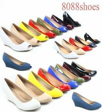 women's Classic Cute Round Open Toe Wedge Platform Low Heel Shoes Size 5 -10 NEW