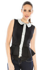 Party Top Sequin Evening Going Out Blavk And Silver Peplum Top