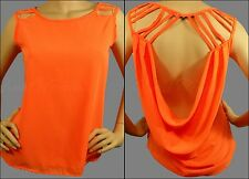 Sexy Orange Sleeveless Top Strappy Cut Out Open Cowl Back High Low Style Tank