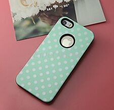 For Apple 5 5S Hybird TPU White Polka-dot Shockproof Case Cover Mint Green Skin