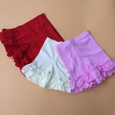 New Girls Toddler's Solid Layered Double Ruffle Shorts Bottoms Pant 2 3 4 5 6